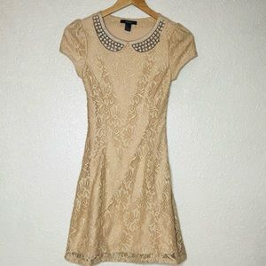 {Forever 21} lace pearls fitted mini dress S